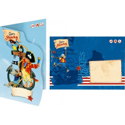 Invitations + enveloppes Capitaine Sharky