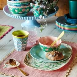Grande assiette à dessert Jardins fond vert Nathalie Lété pour Petit Jour