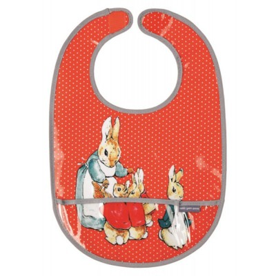 Peter Rabbit : bavoir corail