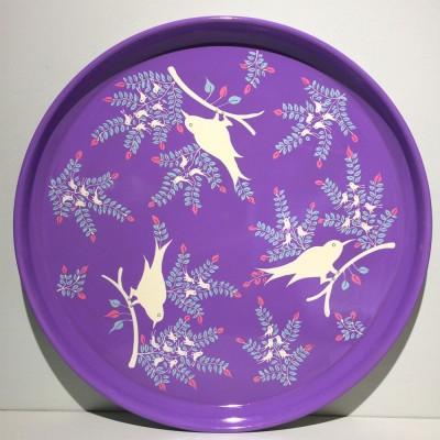 Plateau émaillé Bird Lilac