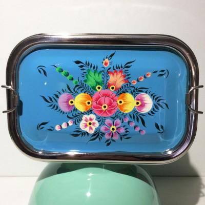 Lunch box double Folk bleu