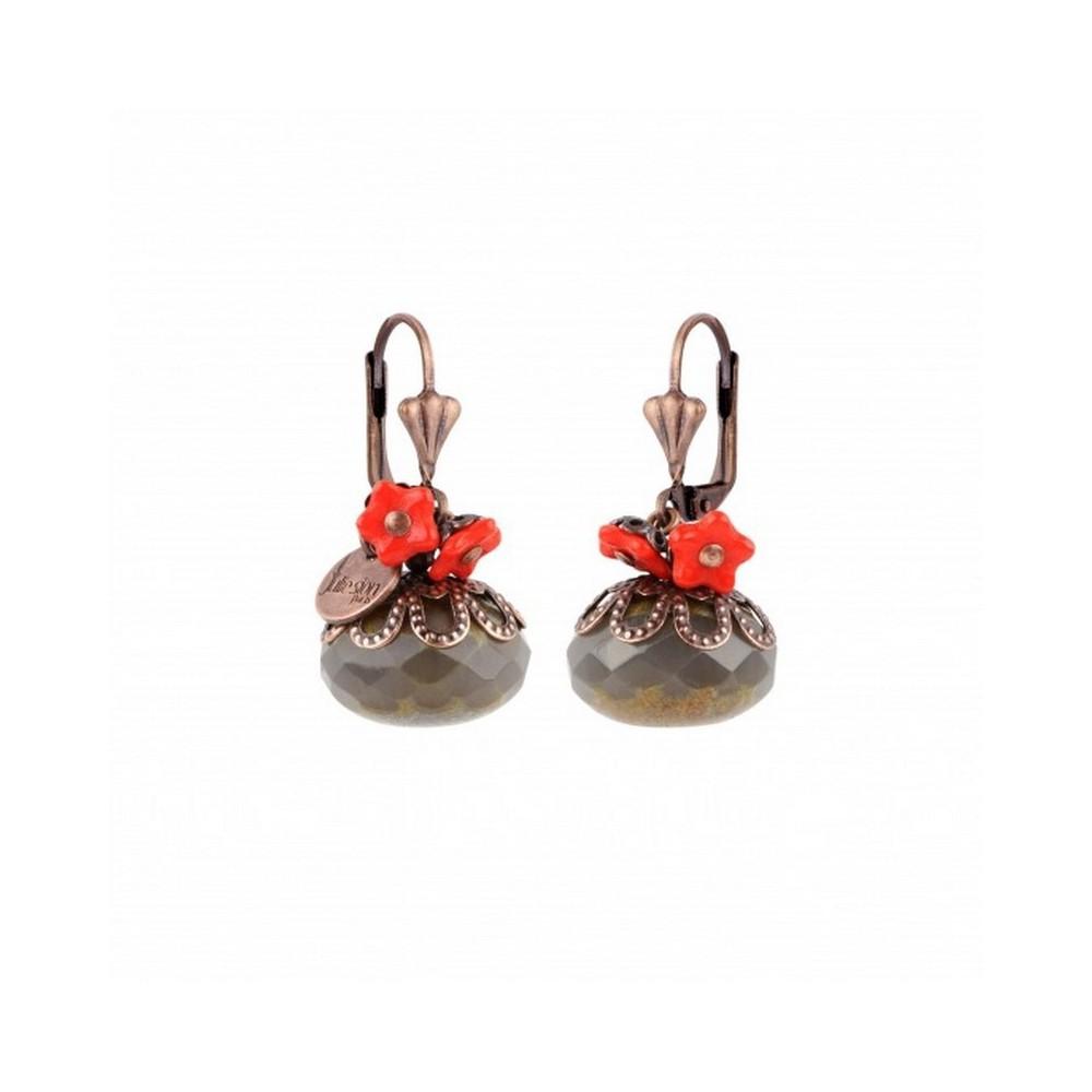 Boucles d'oreilles - Boule - Gris opale