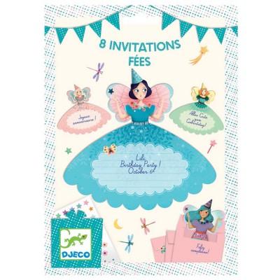 8 invitations Fées