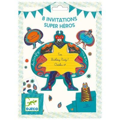 8 invitations Super Héros