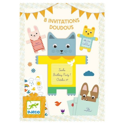 8 invitations Doudous