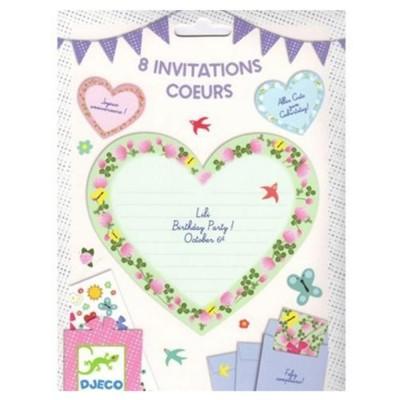 8 invitations Coeurs