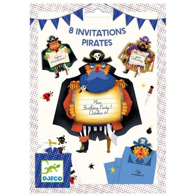 8 invitations Pirates