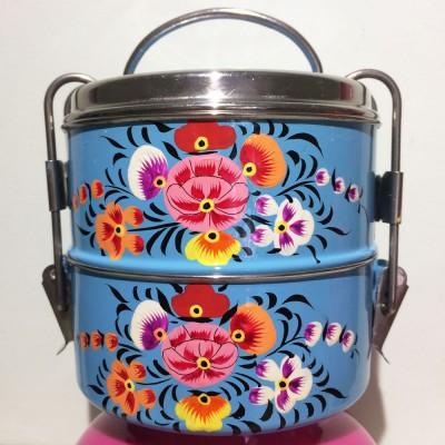 Lunch box ronde Folk bleu