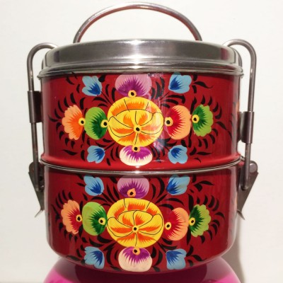 Lunch box ronde Folk rouge