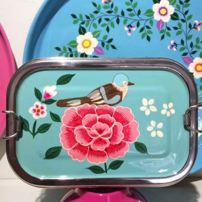 Lunch box double Bird cyan