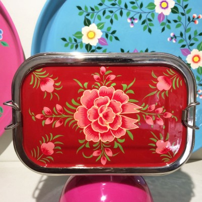 Lunch box double Pivoine rouge