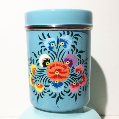 Boîte à thé Folk cyan GM