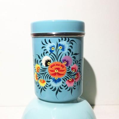 Boîte à thé Folk cyan MM