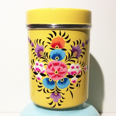 Boîte à thé Folk jaune GM