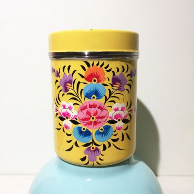 Boîte à thé Folk jaune MM