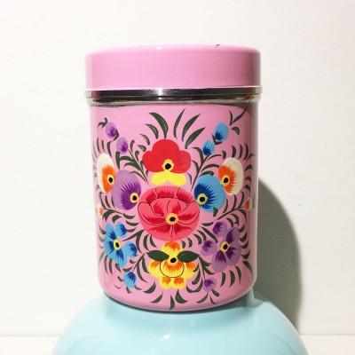 Boîte à thé Folk rose MM