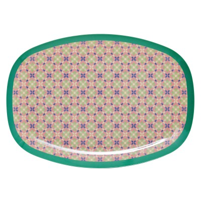 Assiette rectangulaire Flower Tile