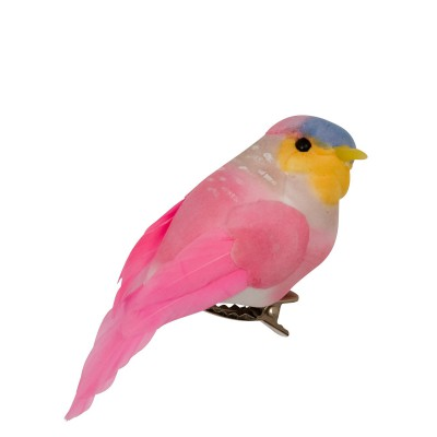 Oiseau sur pince Rice rose