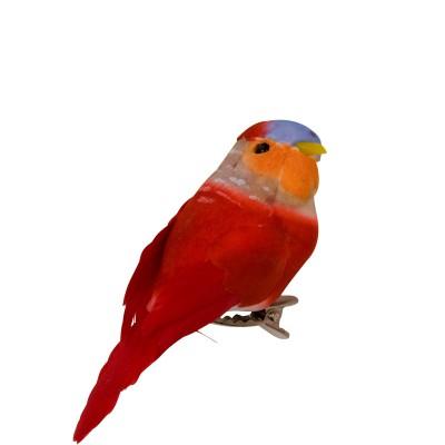Oiseau sur pince Rice rouge