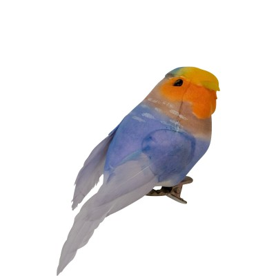 Oiseau sur pince Rice bleu