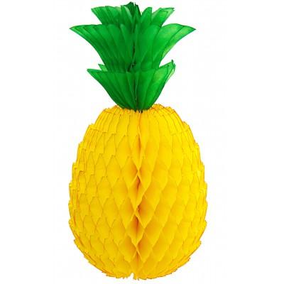 Ananas en papier à suspendre jaune L