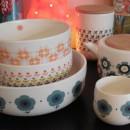 Large bowls, teapots ...